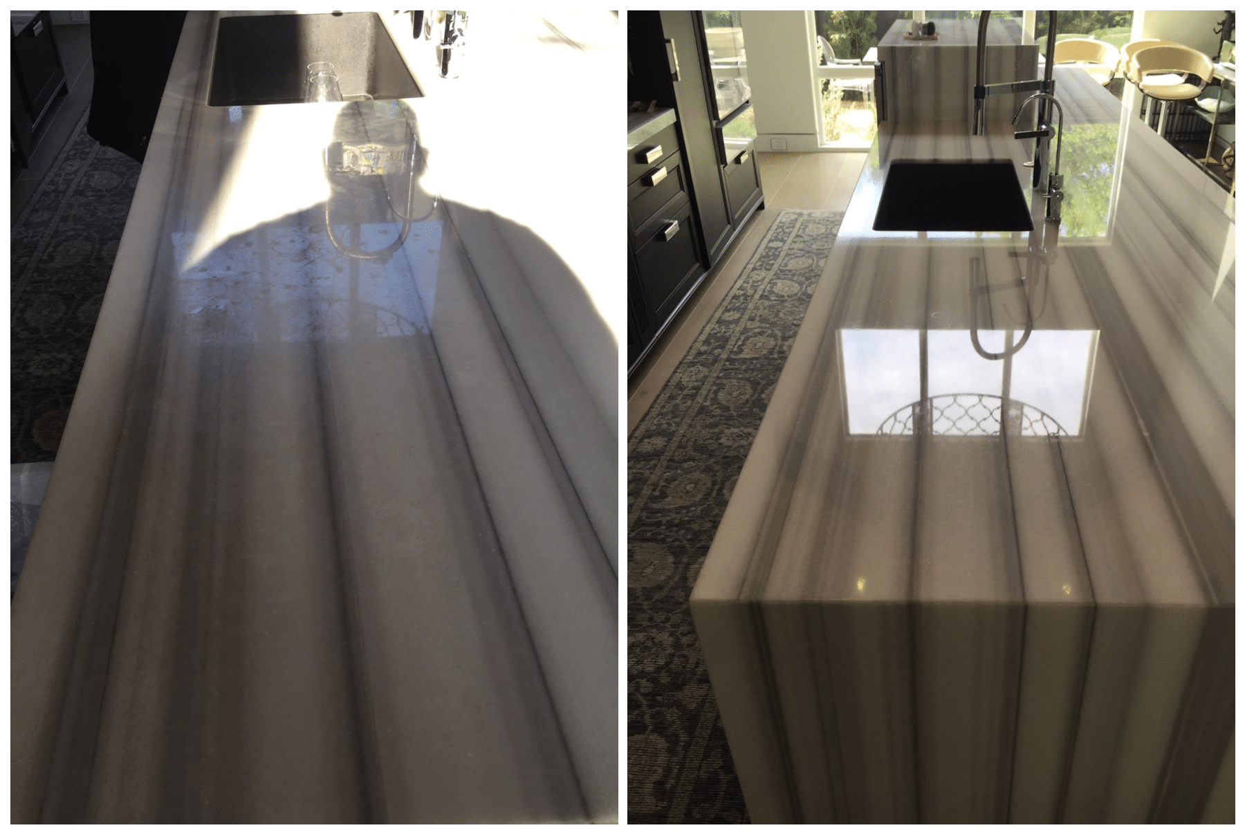 Marble counter polishing