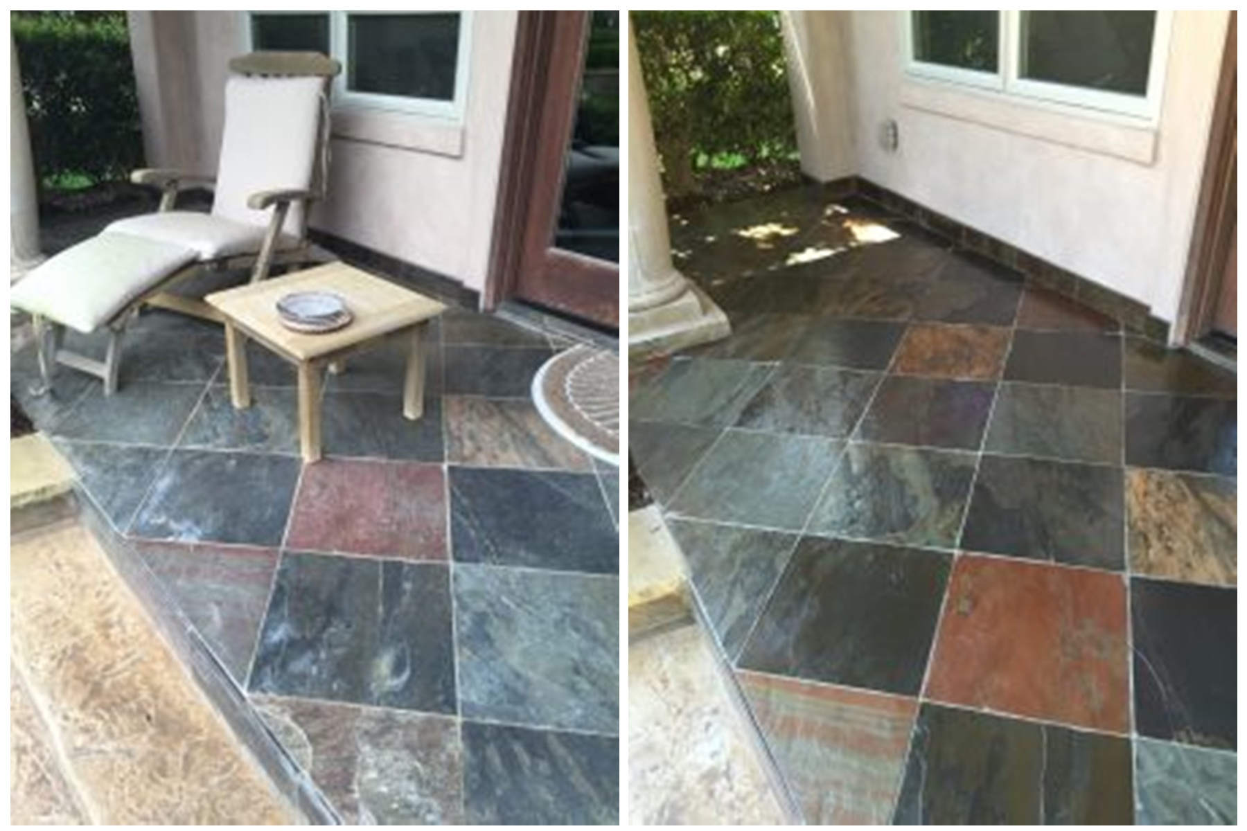 Cleaning and sealing outdoor stone