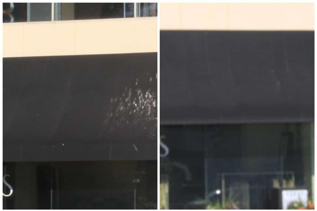 Commercial Awning cleaning remove bird droppings