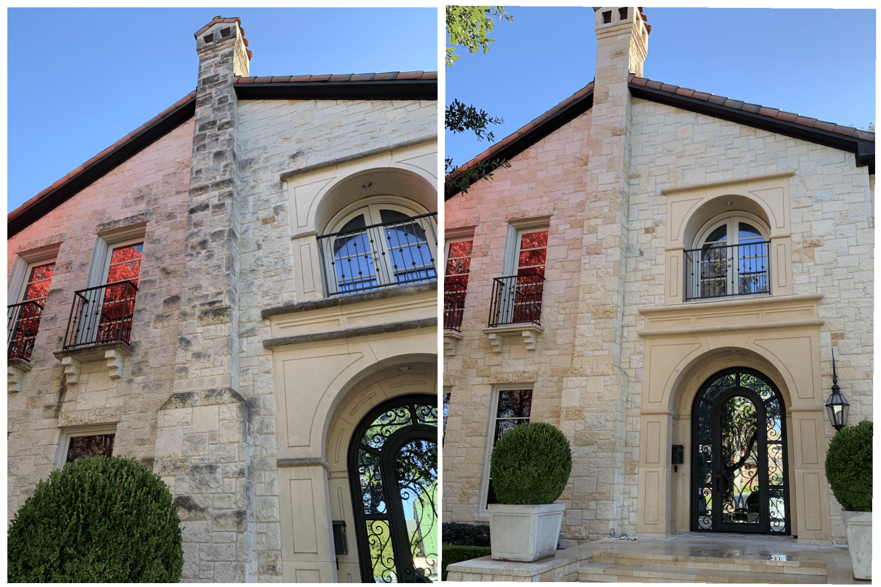 chimney before and after softwash