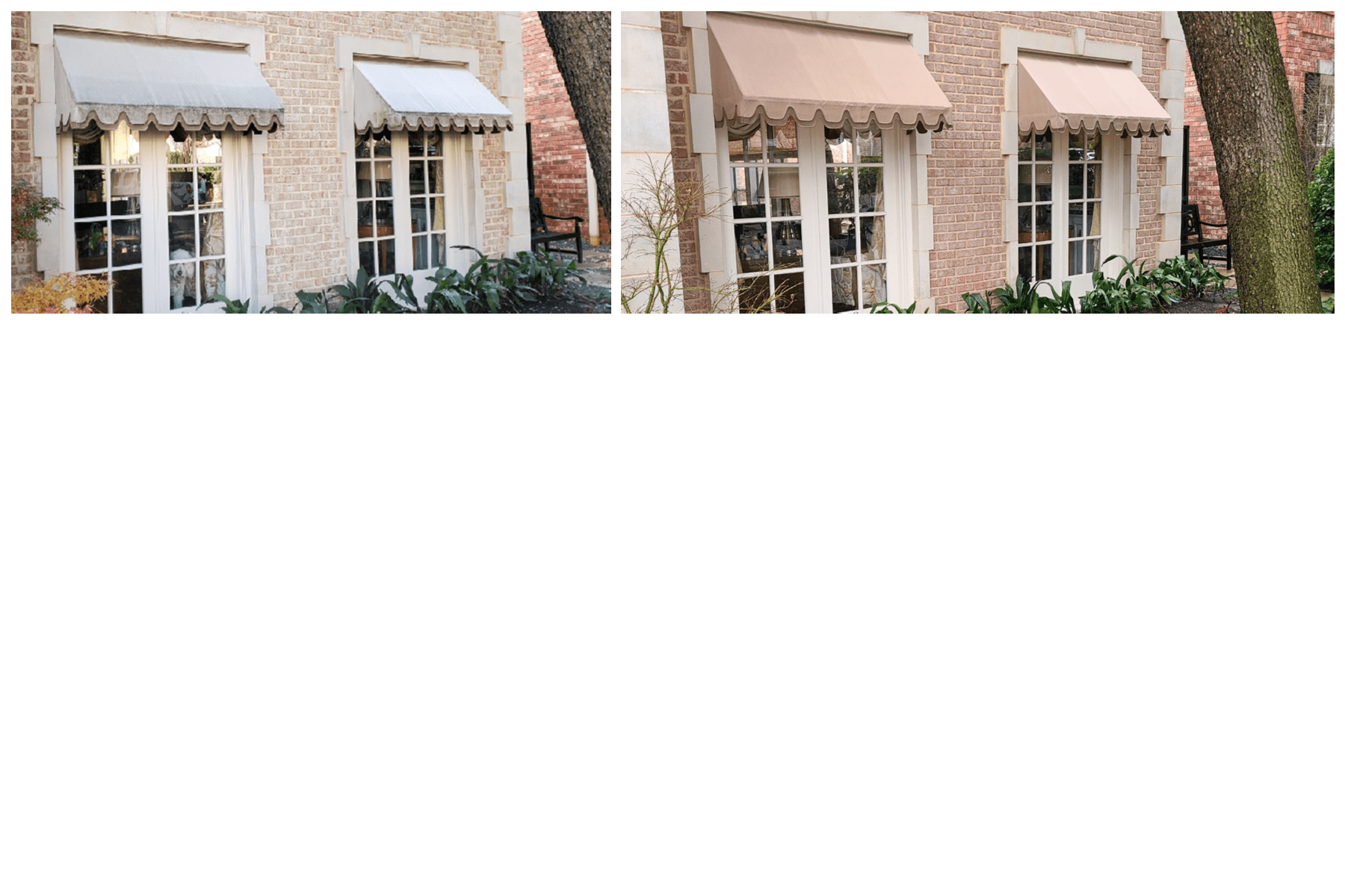 Awnings before and after softwash
