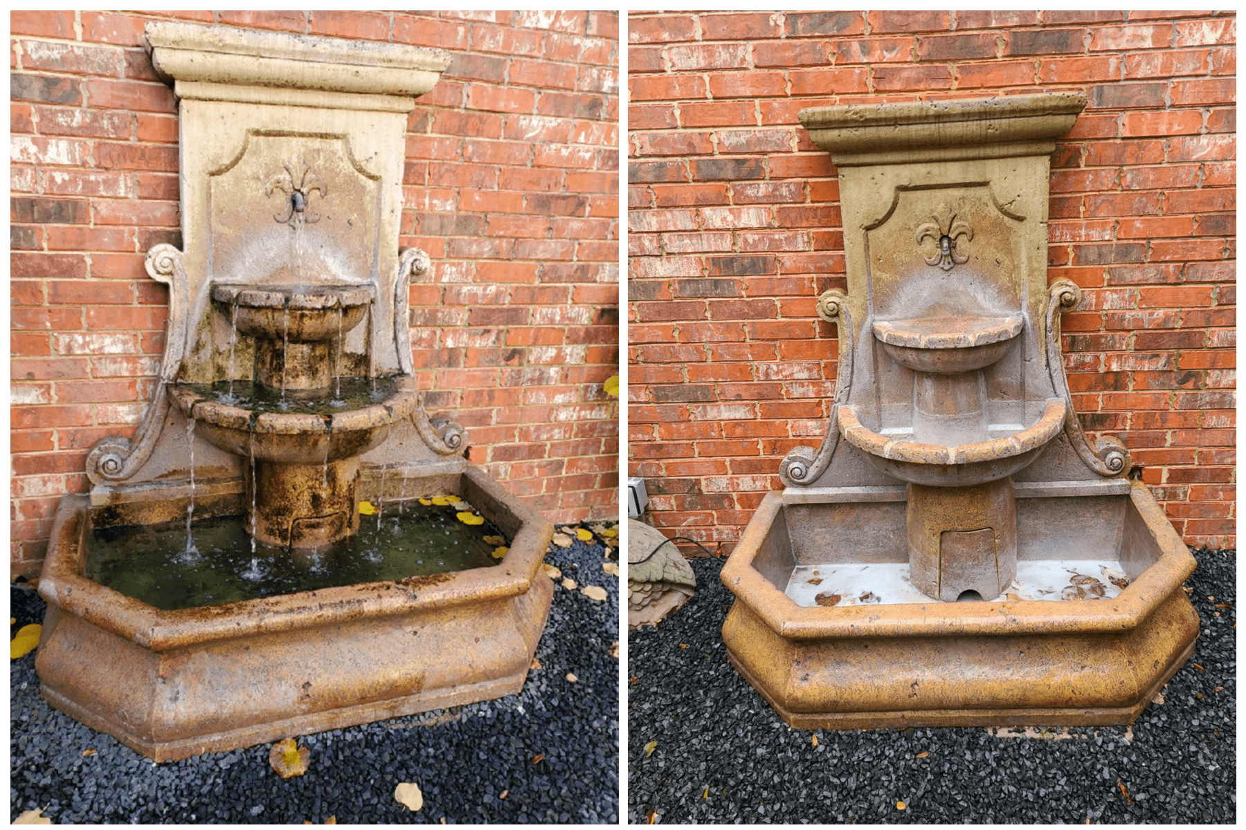 Fountain before and After Softwash