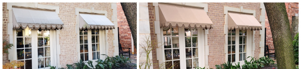 Awnings before and after softwash e1615232867389
